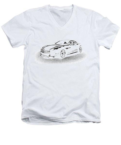 Men's V-Neck T-Shirt featuring the digital art Aston Martin by Rogerio Mariani
