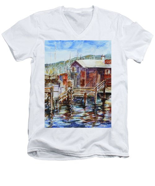 At Monterey Wharf Ca Men's V-Neck T-Shirt by Xueling Zou
