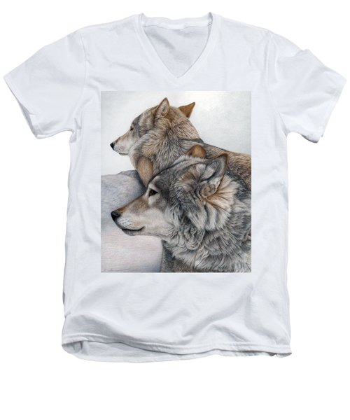 Men's V-Neck T-Shirt featuring the painting At Rest But Ever Vigilant by Pat Erickson