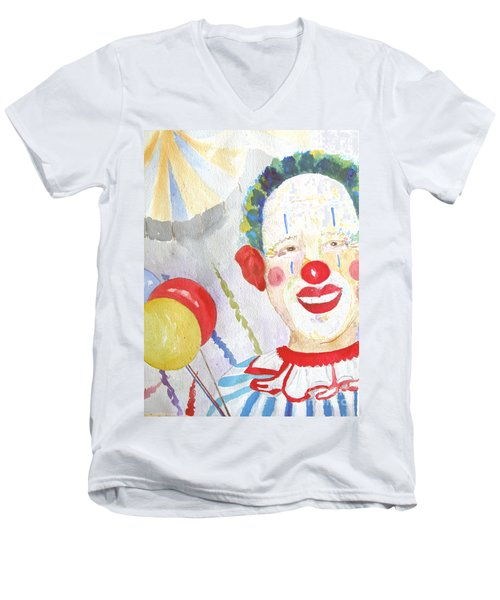 Men's V-Neck T-Shirt featuring the painting At The Circus by Sandy McIntire