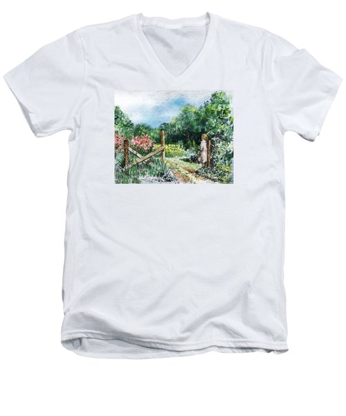 Men's V-Neck T-Shirt featuring the painting At The Gate Summer Landscape by Irina Sztukowski