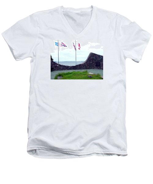 Men's V-Neck T-Shirt featuring the photograph Atlantic Charter Historic Site by Barbara Griffin