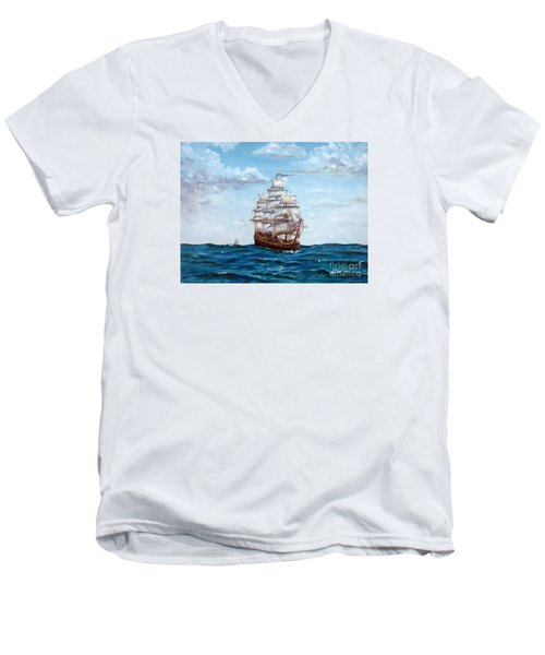 Men's V-Neck T-Shirt featuring the painting Atlantic Crossing  by Lee Piper