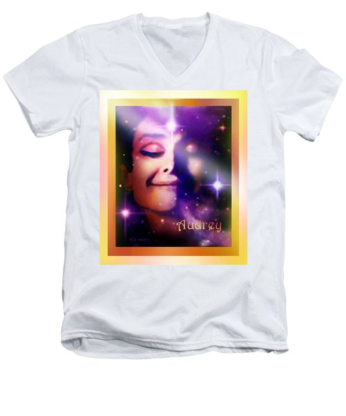 Audrey - Audrey Hepburn Men's V-Neck T-Shirt by Hartmut Jager