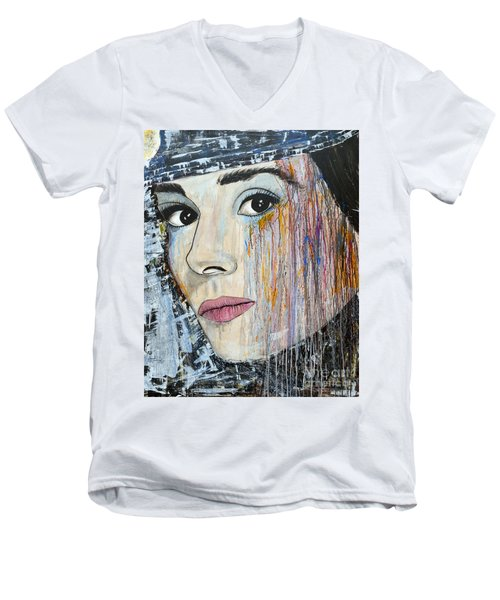 Men's V-Neck T-Shirt featuring the painting Audrey Hepburn-abstract by Ismeta Gruenwald