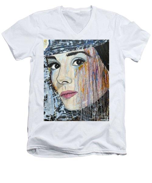 Audrey Hepburn-abstract Men's V-Neck T-Shirt