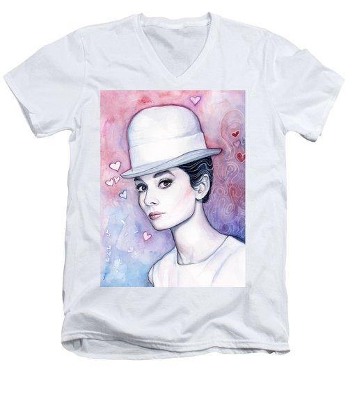 Audrey Hepburn Fashion Watercolor Men's V-Neck T-Shirt by Olga Shvartsur