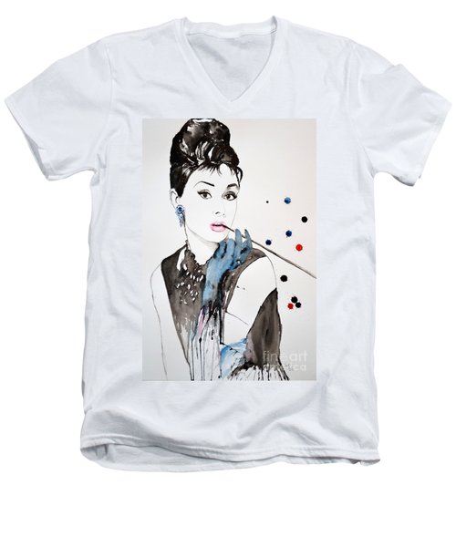 Men's V-Neck T-Shirt featuring the painting Audrey Hepburn by Ismeta Gruenwald