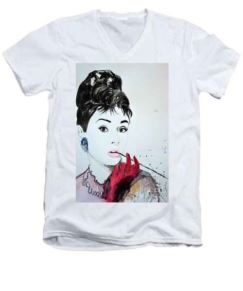 Men's V-Neck T-Shirt featuring the painting Audrey Hepburn - Original by Ismeta Gruenwald