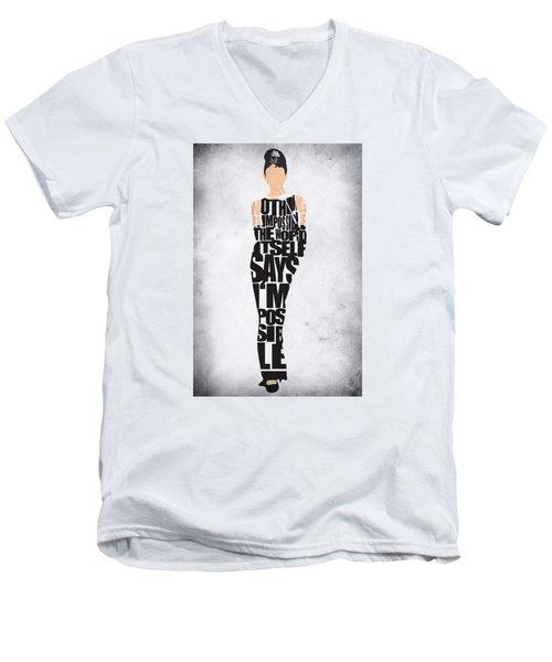 Audrey Hepburn Typography Poster Men's V-Neck T-Shirt by Ayse Deniz