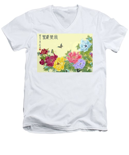 Men's V-Neck T-Shirt featuring the photograph Auspicious Spring by Yufeng Wang