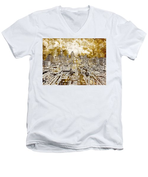 Austin Texas Abstract Panorama 6 Men's V-Neck T-Shirt