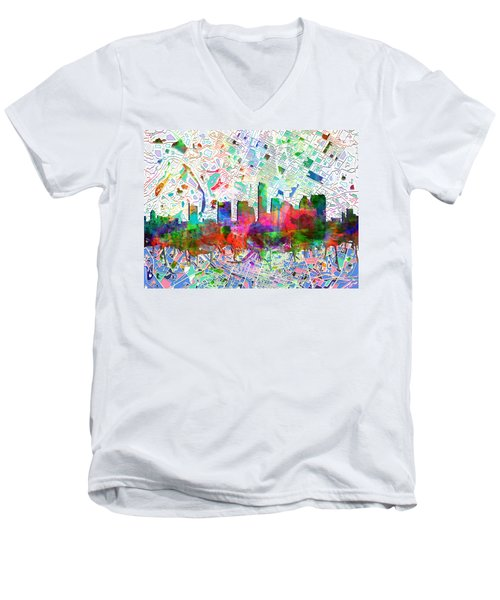 Austin Texas Abstract Panorama 7 Men's V-Neck T-Shirt