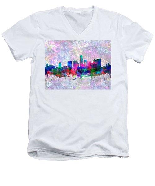 Austin Texas Skyline Watercolor 2 Men's V-Neck T-Shirt by Bekim Art