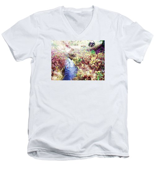 Men's V-Neck T-Shirt featuring the photograph Autumn Creek by Vanessa Palomino