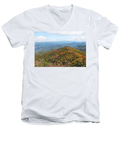 Autumn Great Smoky Mountains Men's V-Neck T-Shirt by Melinda Fawver