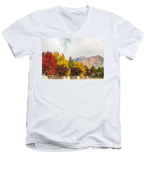 Autumn In The City Men's V-Neck T-Shirt by Sue Smith