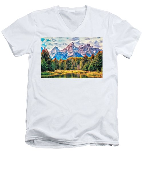 Autumn In The Tetons Men's V-Neck T-Shirt by Dominic Piperata