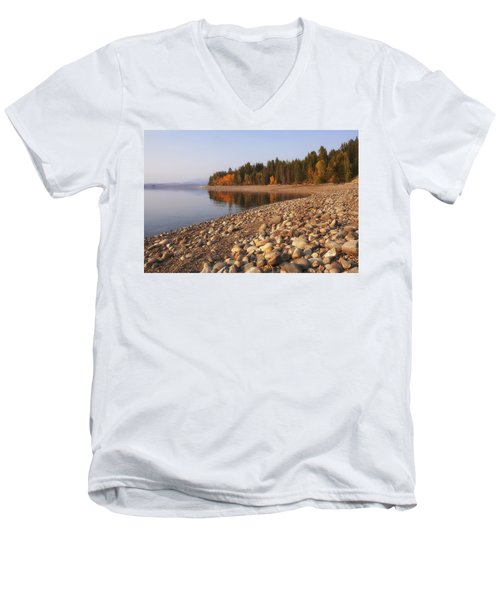 Men's V-Neck T-Shirt featuring the photograph Autumn Lake by Andrew Soundarajan