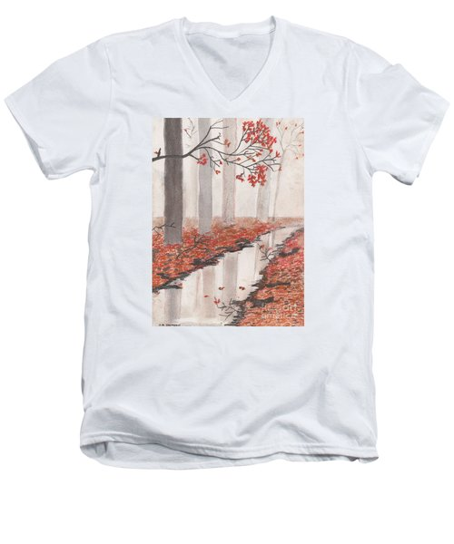 Men's V-Neck T-Shirt featuring the pastel Autumn Leaves by David Jackson