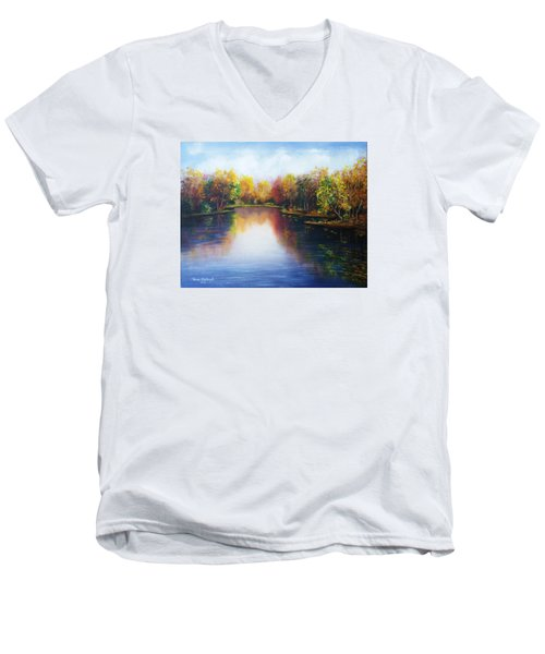Men's V-Neck T-Shirt featuring the painting Autumn Reflections  by Vesna Martinjak