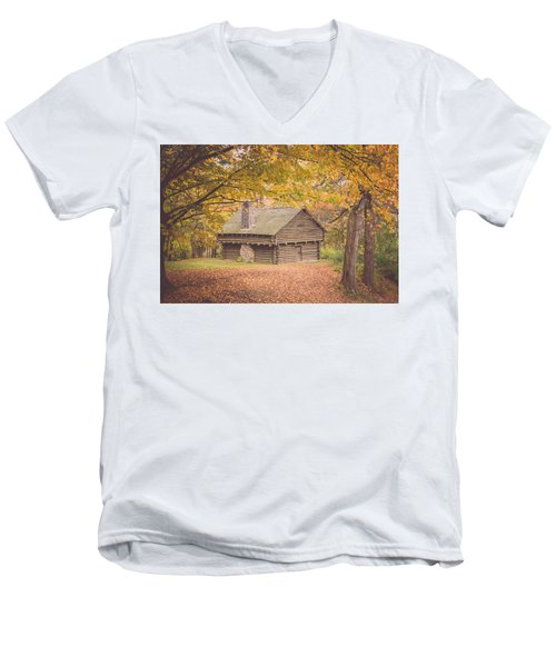 Autumn Retreat Men's V-Neck T-Shirt by Sara Frank