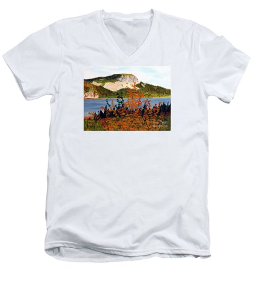 Men's V-Neck T-Shirt featuring the painting Autumn Sunset On The Hills by Barbara Griffin