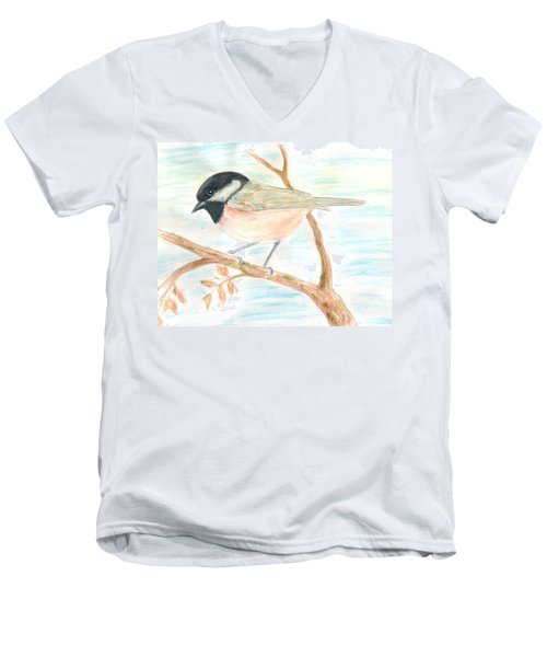 Men's V-Neck T-Shirt featuring the painting Autumn Visitor by Stephanie Grant