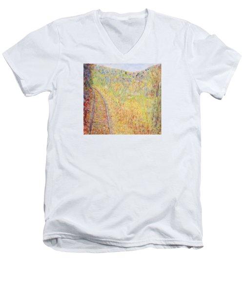 Autumns Maple Leaves And Train Tracks Men's V-Neck T-Shirt