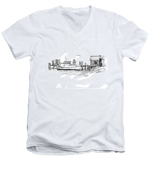 Awaiting Bluefish Run Ocracoke Nc 1970s Men's V-Neck T-Shirt