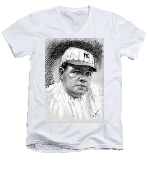 Men's V-Neck T-Shirt featuring the drawing Babe Ruth by Viola El