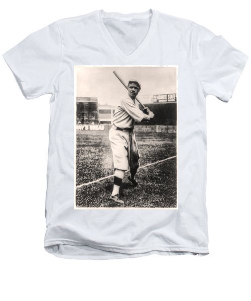 Babe Ruth Men's V-Neck T-Shirt by Bill Cannon