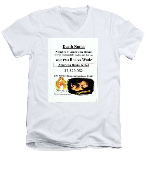 Babies Aborted Murdered Since Roe Vs Wade 1 Death Notice Obituary Men's V-Neck T-Shirt by Richard W Linford