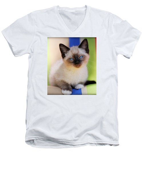 Men's V-Neck T-Shirt featuring the photograph Baby Blues by Melanie Lankford Photography