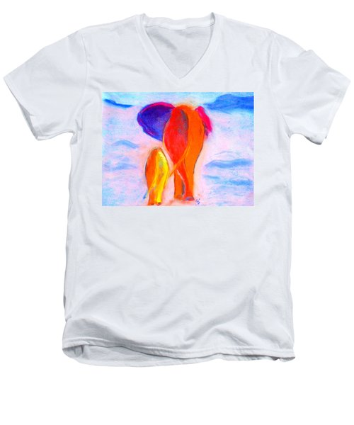 Baby Elephant And Mom Men's V-Neck T-Shirt