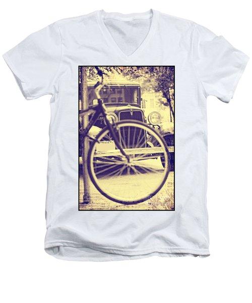 Back In Time Men's V-Neck T-Shirt by Erika Weber