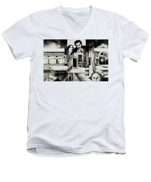 Men's V-Neck T-Shirt featuring the drawing Backlane Serenade by Otto Rapp