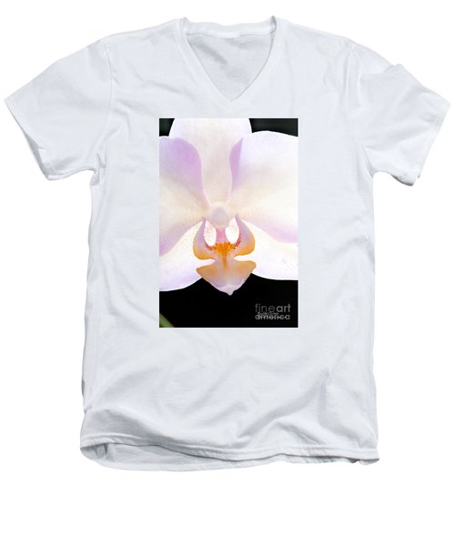 Men's V-Neck T-Shirt featuring the photograph Backlit Orchid by David Perry Lawrence