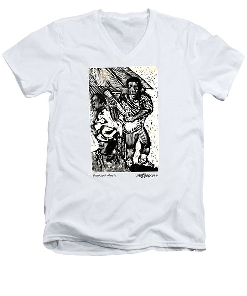 Men's V-Neck T-Shirt featuring the relief Backyard Music by Seth Weaver