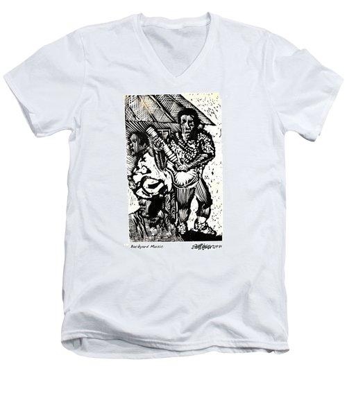 Backyard Music Men's V-Neck T-Shirt by Seth Weaver