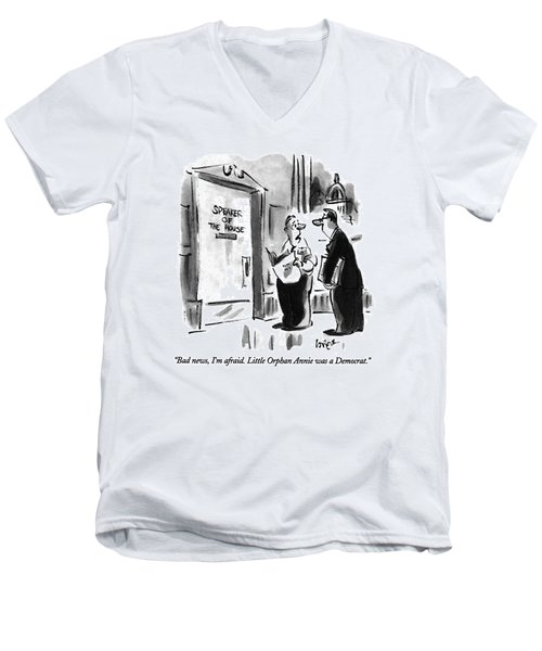 Bad News, I'm Afraid.  Little Orphan Annie Men's V-Neck T-Shirt by Lee Lorenz