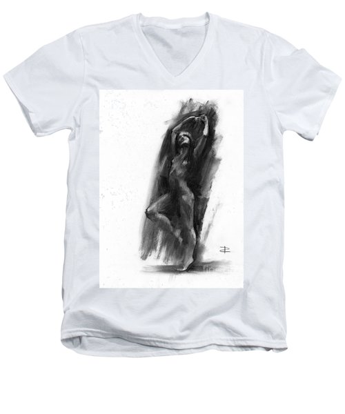 Men's V-Neck T-Shirt featuring the drawing A Dance Of Balance by Paul Davenport