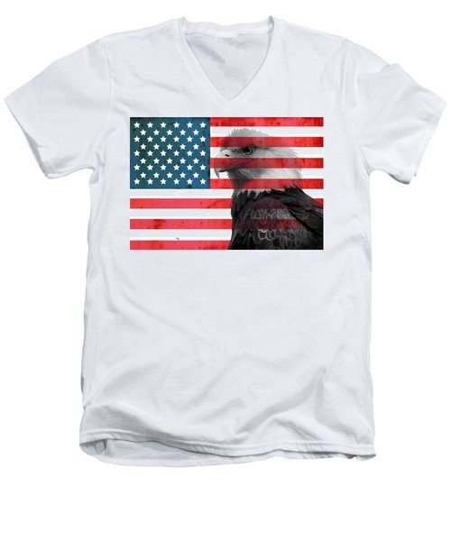 Bald Eagle American Flag Men's V-Neck T-Shirt by Dan Sproul