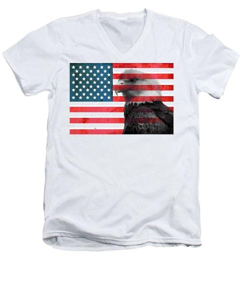 Bald Eagle American Flag Men's V-Neck T-Shirt