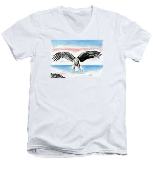 Men's V-Neck T-Shirt featuring the drawing Bald Eagle by David Jackson