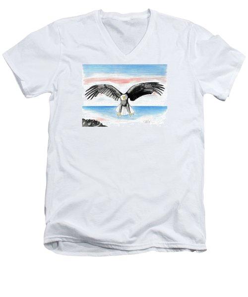 Bald Eagle Men's V-Neck T-Shirt by David Jackson