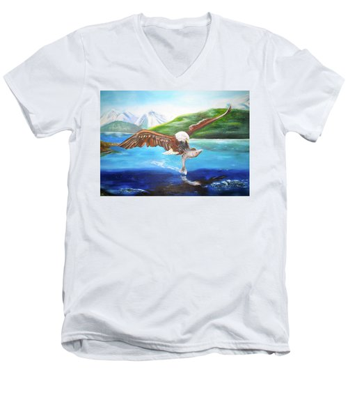 Men's V-Neck T-Shirt featuring the painting Bald Eagle Having Dinner by Thomas J Herring