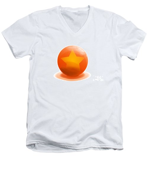 Men's V-Neck T-Shirt featuring the sculpture orange Ball decorated with star white background by R Muirhead Art