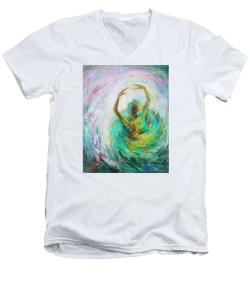Men's V-Neck T-Shirt featuring the painting Ballerina by Xueling Zou