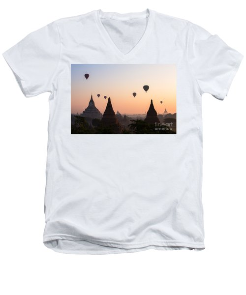 Ballons Over The Temples Of Bagan At Sunrise - Myanmar Men's V-Neck T-Shirt